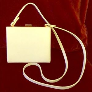 ZARA white rose gold box clutch w/ shoulder strap